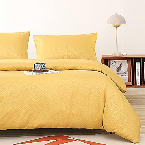 Bettwäsche 200X200 Mikrofaser 3 teilig - Grün Bettwaren & Bettwäsche Set mit Gestreift Muster, Satin Weiche Flauschige Bettbezüge mit Reißverschluss und 2 mal 80x80cm Kissenbezug (HUANG-200-3T)