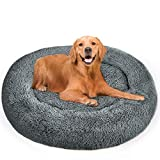 GoFirst Calming Dog Bed Cat Bed Donut, Faux Fur Pet Bed Self-Warming Donut Cuddler, Comfortable Round Plush Dog Beds for Large Medium Dogs and Cats