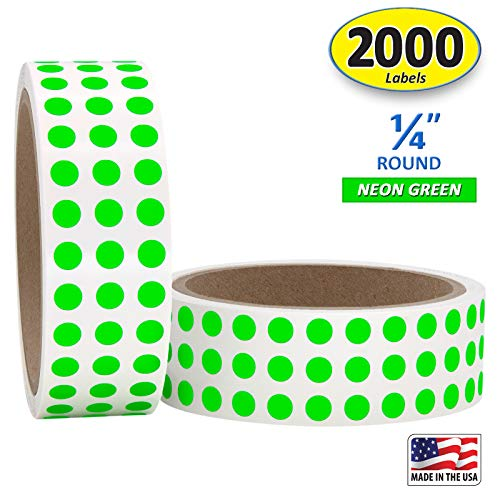 """1/4"""" Neon Green Round Color Coding Circle Dot Labels on a Roll, Semi-Gloss, 2000 Stickers, 1000 Stickers per Roll.25 inch Diameter"""