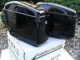 New Hard Saddle bags Saddlebags w/ mounting kit Compatible With Honda Shadow Kawasaki Vulcan VN Black