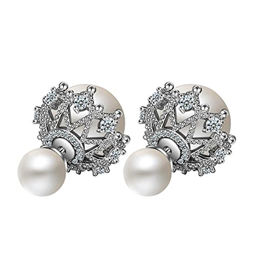 925 Sterling Silver CZ Two-Tone Hollow Lace double-faced Simulated Pearl Women Stud Earrings,white