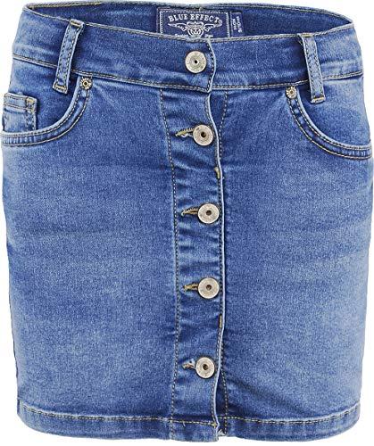 Blue Effect Mädchen Jeans Rock mit Knopfleiste, Farbe:Blau (Blue medium 9719), Größe:164