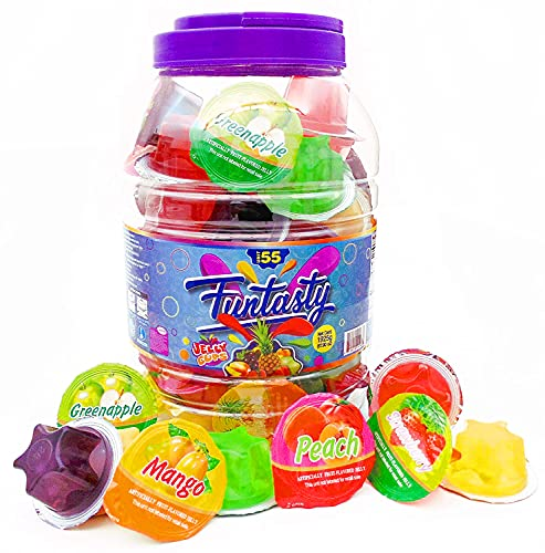 Funtasty Fruit Jelly Cups Assorted Natural Juice Jelly Candy, 55 Count Jar