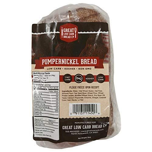 Pumpernickel Bread, Great Low Carb Bread Company, Keto-Friendly Bread, 16 slices, 16 oz.