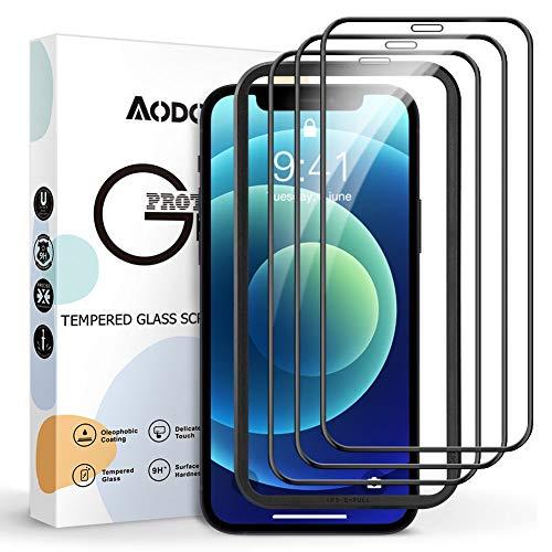 AODOOR 3 Stück Full Screen Schutzfolie Kompatibel mit iPhone 12, Kompatibel mit iPhone 12 Pro Panzerglas [mit Positionierhilfe], 9H Härte [Blasenfrei Einfacher Montage] HD Klar Glas Displayschutz