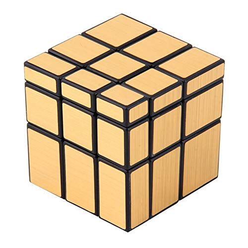 3 x 3 x 3 Magic Cube Puzzle Ruler Mirror Intelligence Game Juguete para niños, Dorado