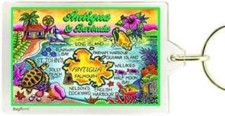 "Antigua & Barbuda Map Acrylic Rectangular Souvenir Keychain 2.5"" X 1.5"""