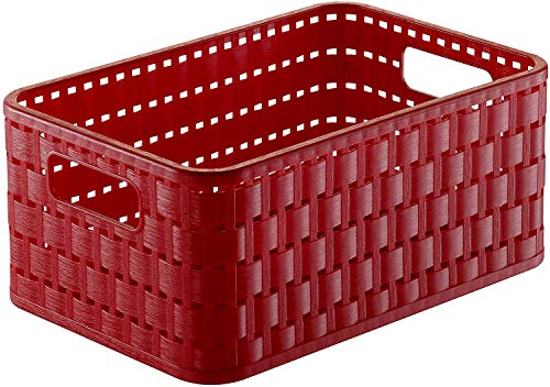 Rotho Country Aufbewahrungskiste 4l in Rattan-Optik, Kunststoff (PP) BPA-frei, rot, A6+/4l (23,7 x 15,8 x 10,8 cm)