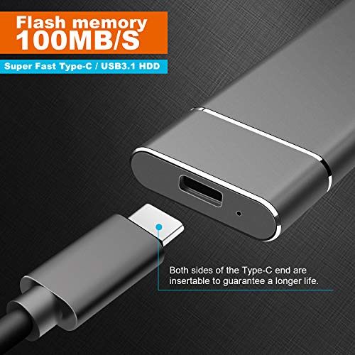 External 1TB 2TB Hard Drive Portable Hard Drive External USB 3.1 Hard Drive for Mac, Laptop,PC (2TB,Silver)