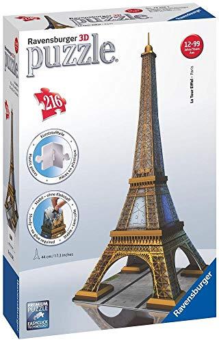 Ravensburger Kinderpuzzle 12556 Ravensburger 12556-Eiffelturm 3D Puzzle-Bauwerke, 216 Teile,