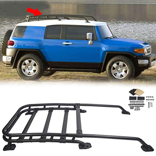 JMTAAT Roof Rack Rail Top Cargo Luggage Carrier 150Lbs Black-Coated Aluminum for 2007-2014 Toyota Fj Cruiser Offroad Type