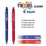 Pilot - FriXion Ball Clicker–2 Bolígrafos Retráctiles Borrables , Colores Azul y Rojo- 3Recambios Azul y 3Recambios  Rojo