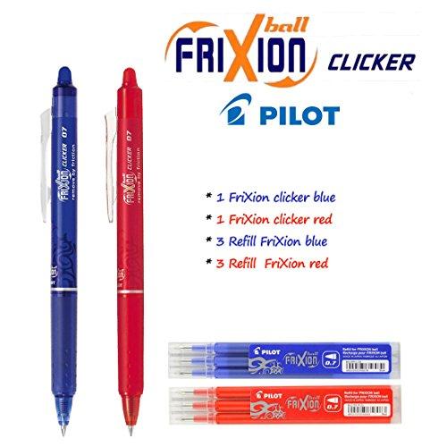 Pilot - FriXion Ball Clicker–Bolígrafo roller a presión (retráctil) con tinta de gel borrable (Juego con bolígrafo azul, bolígrafo rojo, 3recambios en azul, 3recambios en rojo)