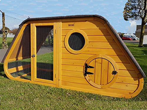 Cocoon HATCHED LARGE CHICKEN COOP HEN HOUSE RABBIT HUTCH WITH NIGHT SHUTTER AND REMOVABLE WASHABLE RUBBER FLOOR