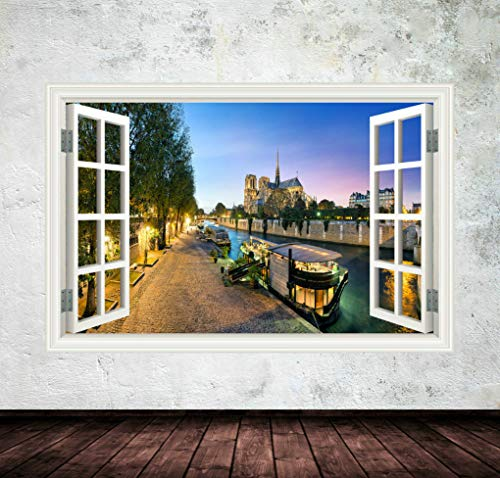 Window Frame View Amsterdam Canal Nightime Decal Sticker Wall Art Transfer Wall 242
