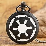 HUABiao Reloj de Bolsillo Star Wars First Galactic Empire Crest Reloj de Bolsillo de Cuarzo Liso Negro con Collar Chian Hombres Mujeres Regalo Envío de la Gota Gratis, A