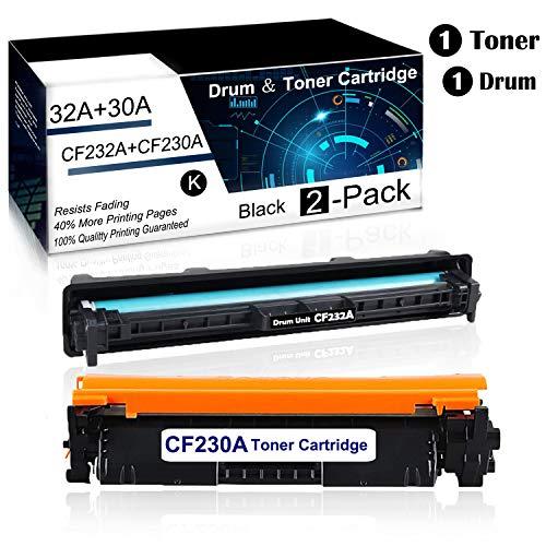 2 Pack?1PK 30A|CF230A Toner+1PK 32A|CF232A Drum? Black Compatible Drum ?Toner Cartridge for HP Laserjet Pro M203dn M203dw M203d MFP M227sdn MFP M227fdw MFP M227fdn Printer Toner Cartridge.