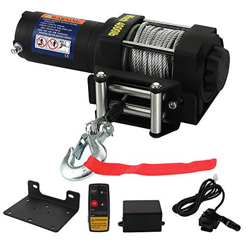 12V 4000 LBS Winch -HORSMILE Advanced Electric winches for Towing ATV/UTV Off Road with Mounting Bracket, Wireless Remote Control, Gavanized Steel Rope