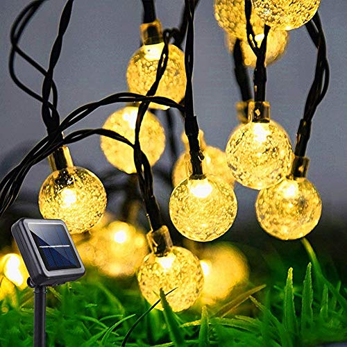 LANPAOPAO Outdoor Light Strings,Solar Outdoor Waterproof Crystal Ball Garden String Lights,Outdoor String Lights with 8 Lighting Modes,for Christmas Party Decoration etc.(60 Led 36 FT)
