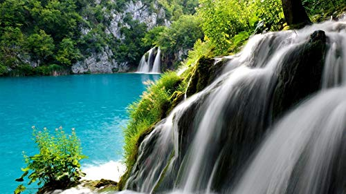 KCHUEAN 1000 Piece Jigsaw Puzzles For Adults National Park Plitvice Lakes Waterfall Educational Toy For Kids And Adults Wooden Assembling