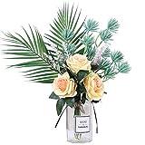 YCJCG Künstliche Rose Seidenblume Pfingstrosen + Beeren Pflanze Brautstrauß Dekor für Büro...