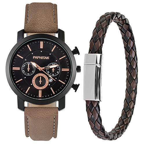 Souarts Herren Armbanduhr Jungen Retro Analoge Quarz Uhr mit Magnet Armband Männer Geschenk Set Herrenuhren mit Kleine Deko Zifferblatt