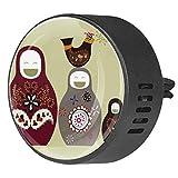 Nananma 2 Pack Aromaterapia Aceite Esencial Coche Difusor Locket Ambientador Clip de Ventilación Preciosas Muñecas Rusas