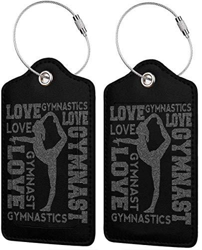Love Gymnastics Leder-Reisegepäck-Anhänger für Gepäck, ID, Gepäckanhänger, 2 Stück