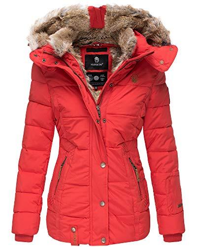 Marikoo Damen Winter Jacke Stepp Jacke Kunst-Fellkragen Warm gefüttert NKO167 (Small, Rot)