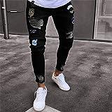 Jeans Pantaloni Vita AltaJeans Uomo Pantaloni Sportivi Strappati Hip-Hop Pantaloni Skinny da Moto in Denim Designer con Cerniera Jeans Neri Pantaloni Casual da Uomo Jeans da U