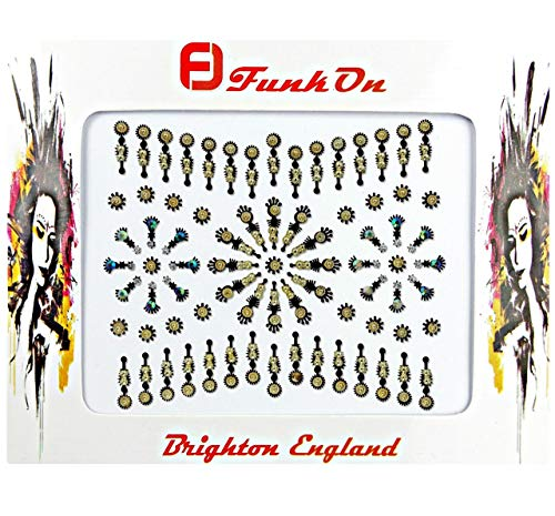 FunkOn® Gold Silver Festival Bindi stickers Stick on Face Gems for Festivals Tribal Tikka Makeup Indian Crystal Bindis Large Pack of Glitter Diamante Bollywood Costume Forehead Jewels NB28