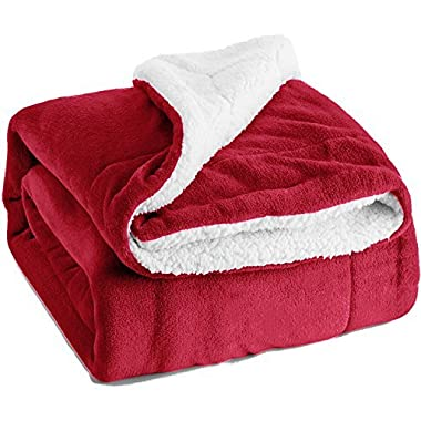 Sherpa Throw Blanket Red Twin Size Reversible Fuzzy Bed Blankets Microfiber All Seasons Luxury Fluffy Blanket for Bed or Couch 60 x80  by Bedsure
