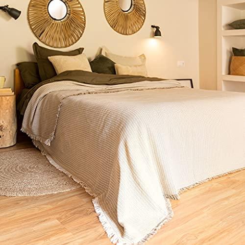 LA MALLORQUINA Colcha - Flecos (Cama 180 o 200cm - 260x270cm - Beige) | Colcha de Verano y Entretiempo Multiusos de Diseño
