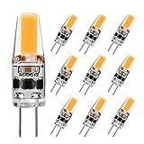 G4 LED Bulb 2W Equivalent to 20W T3 JC Type Bi-Pin G4 Base Halogen Bulb, AC/DC 12V Warm White 3000K G4 Bulb for Under Cabinet Light, Ceiling Lights, RV, Boats, Outdoor Landscape Lighting (10 Pack)