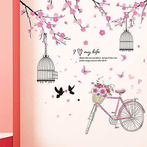 Sakura wandaufkleber cartoon vogelkäfig fahrrad wandaufkleber haus wohnzimmer schlafzimmer dekorative wand sticker42cm * 24cm