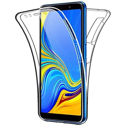 NewTop Cover per Samsung Galaxy A7/A8/A9/2018, Custodia Crystal Case in TPU Silicone Gel PC Protezione 360° Fronte Retro Completa (per A7 2018)