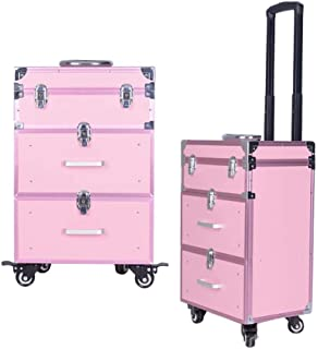 TONGSH Professional Makeup Train Case/Cosmetic Case/Trolley/Suitcase/Box Large Capacity Trolley with 2 Smooth Sliding Drawer (Color : Pink)