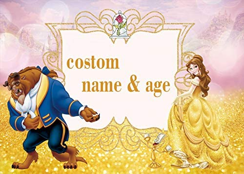 BoTong Beauty and The Beast Birthday Party Background Photo Beaty Pincess Happy Birthday Photography Backdrop Children Birthday Party Studio BT_dn159_5x3FT