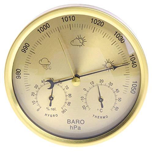 YHDNCG Barómetro, barómetro tres-en-uno, termómetro, higrómetro, monitor del tiempo, termómetro interior y exterior, decoración de la pared del hogar