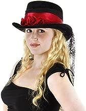 elope Gothic Rose Black Top Hat with Spiderweb Veil