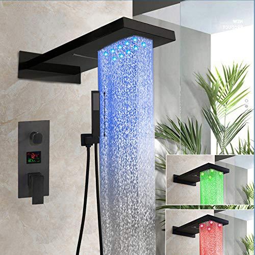 Gnailur Ducha grifo led mate negro ducha ducha tuerca bañera bañera lluvia lluvia ducha cabezas cascada ducha grifo conjunto