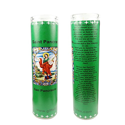 Gifts by Lulee, LLC San Pancracio Saint Pancras Patron de Los Empleos Patron of Jobs Set of 2 Candles