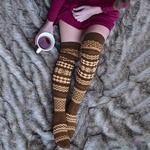 Frashing Damen Mädchen Overknee Strümpfe Winter Lange Kniestrümpfe Schneeflocke Vintage Stricken Stulpen Gestrickte Beinwärmer Leg Warmers Socken Leggings Stiefel Boot Strick Socken