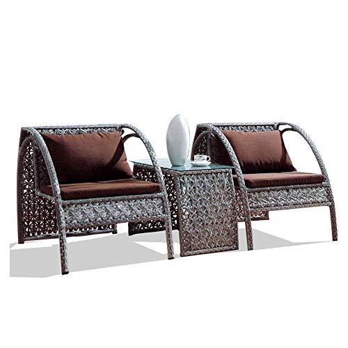 VBARV Combinazione di sedie da Giardino, Sedia in Rattan per Il Tempo Libero Balcone Tavolo e sedie in Rattan per Esterni Set di Tre, con tavolino, Portico sul Cortile Sedia a Sdraio a Bordo Piscina