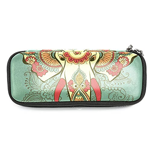 Henna - Estuche para lápices con diseño de elefante indio de gran capacidad para rotuladores, bolsa organizadora de maquillaje, para la escuela, oficina, adulto y niña