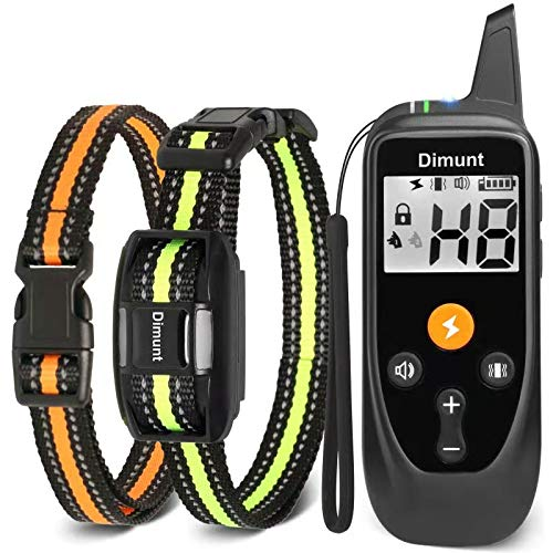 Dimunt Dog Training Collar - Rechargeable Dog Shock Collar with Remote IP67 Waterproof Shock Collar w/3 Training Modes, Beep, Vibration and Shock, 3350ft Remote Range Dog Collar