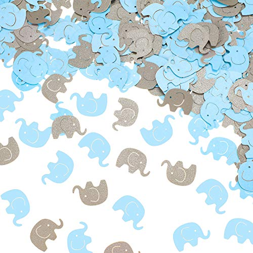 600 Pieces Elephant Confetti Elephant Paper Cutouts Elephant Table Party Confetti for Baby Shower Birthday Party Wedding Elephant Theme Party Decorations (Blue and Gray)