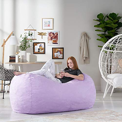 TRP Large 30'' H x 70'' W x 45'' D Classic Bean Bag with Safety Zippers & Removable Cover, Soft Textures Liner Filled Comfortable Durable Lavender Purple Bean Bag Chair for Adults & Kids, Home Decor