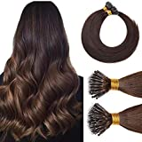 Nano Tip Remy Hair Extensions Nano Ring Human Hair Extensions Cold Fushion Tipped Real Hair Micro Beads Links Hairpiece Full Head Brazilian Hair For Women 16inch 50g/PACK 50 Strands #04 Medium Brown