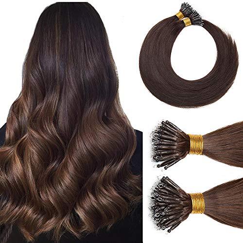 Nano Ring Hair Extensions Nano Bead Human Hair Micro Link Hair Extensions Remy Hair Cold Fushion Pre Bonded I Tip Nano Tipped Hair Extensions For Women 18inch 50g/PACK 50 Strands #04 Medium Brown